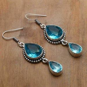 Tpz 754a boucles oreilles pendants 12gr 12x16mm paire topaze bleu suisse argent 925 vente