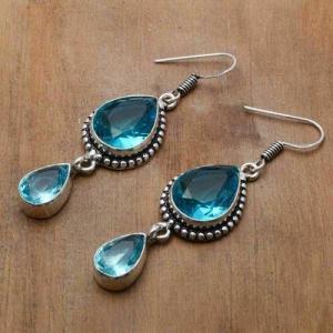 Tpz 754b boucles oreilles pendants 12gr 12x16mm paire topaze bleu suisse argent 925 vente