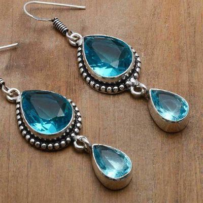Tpz 754c boucles oreilles pendants 12gr 12x16mm paire topaze bleu suisse argent 925 vente