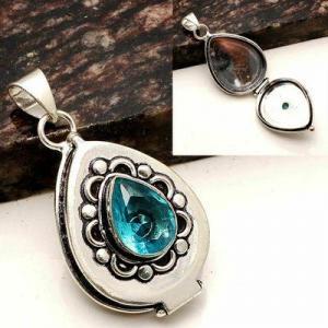 Tpz 755a pendentif pendants poison 11gr topaze bleu suisse bijou argent 925 vente achat