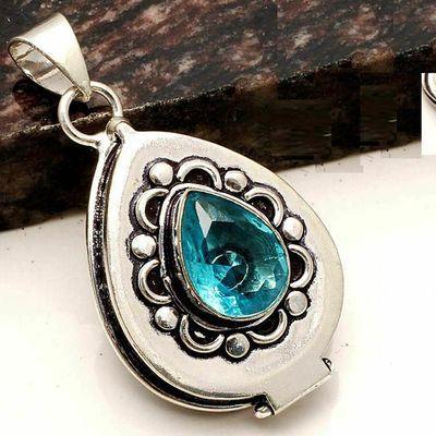 Tpz 755c pendentif pendants poison 11gr topaze bleu suisse bijou argent 925 vente achat