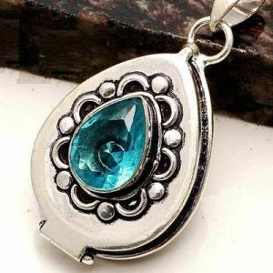 Tpz 755d pendentif pendants poison 11gr topaze bleu suisse bijou argent 925 vente achat