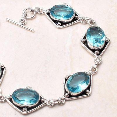 Tpz 756b bracelet 17gr topaze bleu suisse 15x10mm ethnique baroque bijou argent 925 vente achat