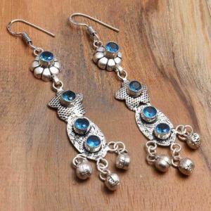 Tpz 763a boucles oreilles pendants 10gr 6mm paire topaze bleu suisse argent 925 vente