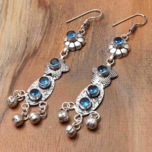 Tpz 763b boucles oreilles pendants 10gr 6mm paire topaze bleu suisse argent 925 vente achat