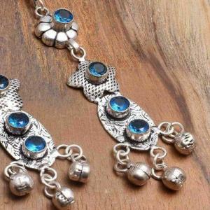 Tpz 763c boucles oreilles pendants 10gr 6mm paire topaze bleu suisse argent 925 vente