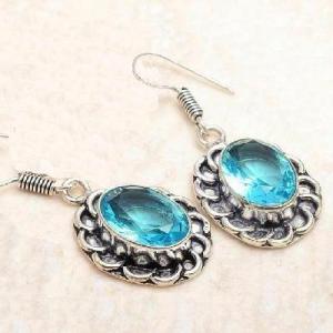 Tpz 764b collier boucles oreilles 31gr 10x15mm topaze bleu suisse argent 925 vente