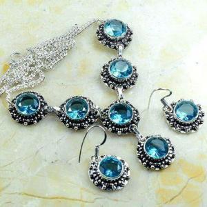 Tpz 772a collier boucles oreilles 30gr 10mm topaze bleu suisse argent 925 vente