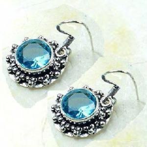 Tpz 772c collier boucles oreilles 30gr 10mm topaze bleu suisse argent 925 vente