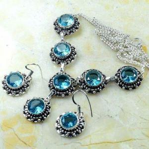Tpz 772d collier boucles oreilles 30gr 10mm topaze bleu suisse argent 925 vente