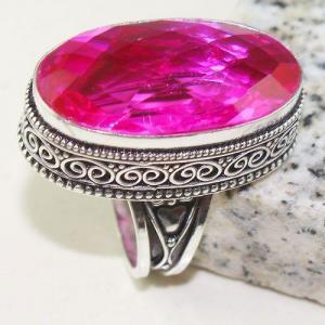 Tpz 776a bague t57 chevaliere medievale topaze pink rose 18x32mm bijoux argent 925 vente achat