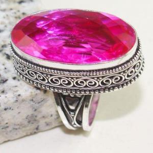 Tpz 776b bague t57 chevaliere medievale topaze pink rose 18x32mm bijoux argent 925 vente achat