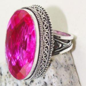 Tpz 776c bague t57 chevaliere medievale topaze pink rose 18x32mm bijoux argent 925 vente achat
