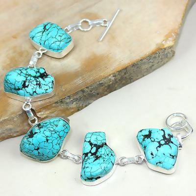 Tqa 002a bracelet turquoise bleue achat vente bijou pierre naturelle argent 925