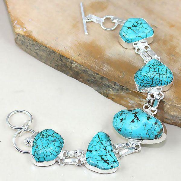 Tqa 004d bracelet turquoise bleue achat vente bijou pierre naturelle argent  925 a0ec24ca72ca