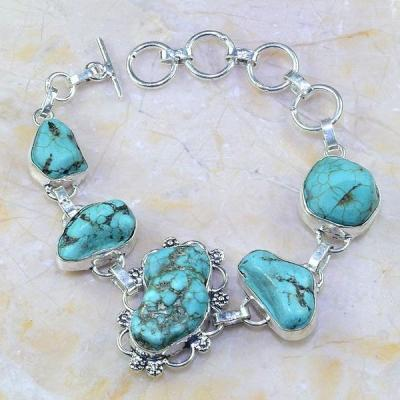 Tqa 005a bracelet turquoise bleue achat vente bijou pierre naturelle argent 925