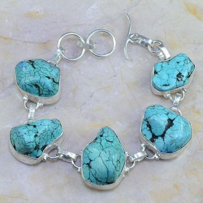 Tqa 006a bracelet turquoise bleue achat vente bijou pierre naturelle argent 925