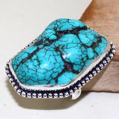 Tqa 018a bague t54 turquoise bleue ethnique tibet nepal achat vente bijou argent 925