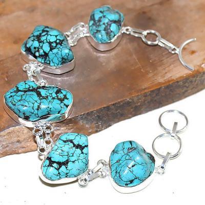 Tqa 022a bracelet turquoise bleue achat vente bijou pierre naturelle argent 925