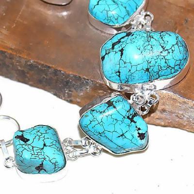 Tqa 025b bracelet turquoise bleue achat vente bijou pierre naturelle argent 925