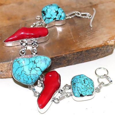 Tqa 026a corail bracelet turquoise bleue achat vente bijou pierre naturelle argent 925