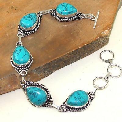 Tqa 032a bracelet turquoise bleue achat vente bijou pierre naturelle argent 925 1