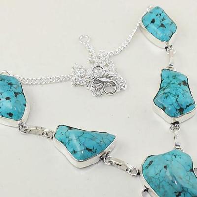 Tqa 035c collier sautoir turquoise bleue achat vente bijou pierre naturelle argent 925