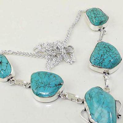 Tqa 036c collier sautoir turquoise bleue achat vente bijou pierre naturelle argent 925