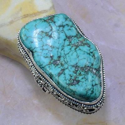 Tqa 038b bague t59 turquoise bleue ethnique tibet nepal achat vente bijou argent 925