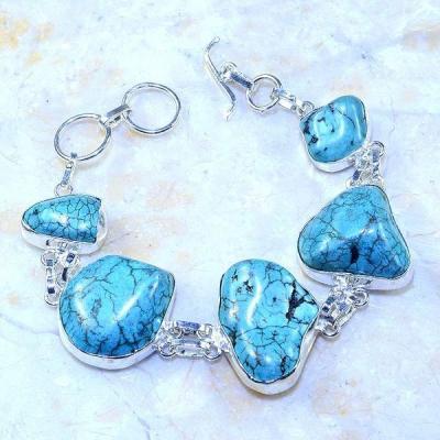 Tqa 045a bracelet turquoise bleue achat vente bijou pierre naturelle argent 925