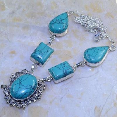 Tqa 051a collier parure sautoir turquoise bleue achat vente bijou pierre argent 925