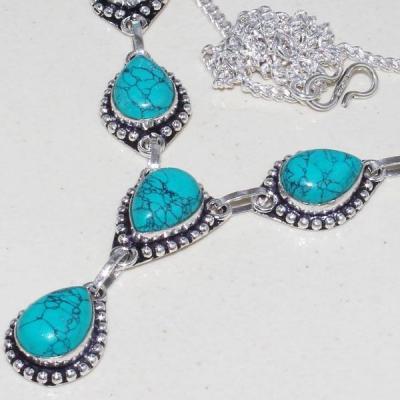 Tqa 056b collier parure sautoir turquoise bleue achat vente bijou pierre argent 925 1