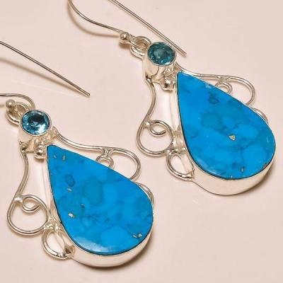 Tqa 067c boucles oreilless turquoise achat vente bijou argent 925 1