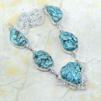 Tqa 076a collier parure sautoir turquoise achat vente bijou argent 925 2