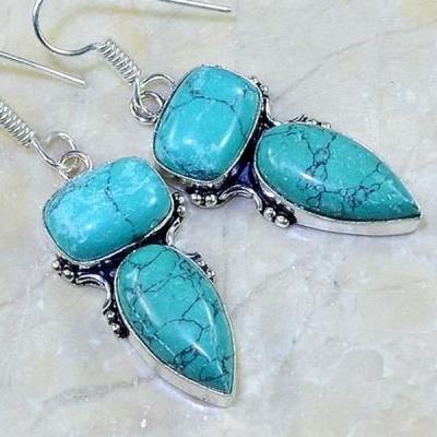 Tqa 078c boucles oreilles turquoise bleue argent 925 achat vente bijoux 1