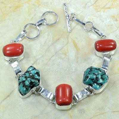 Tqa 079a bracelet turquoise corail argent 925 achat vente bijou