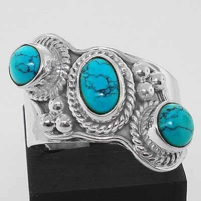 Tqa 091a bague t58 turquoise argent 925 ethnique achat vente