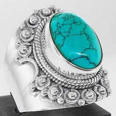 Tqa 092b bague t56 turquoise argent 925 ethnique achat vente