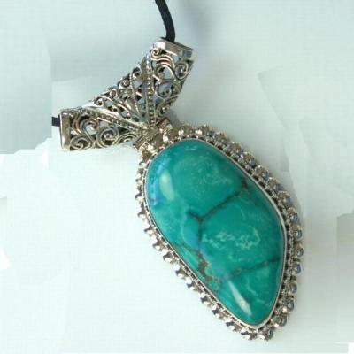 Tqa 105a pendentif pendant turquoise reiki achat vente bijou argent 925