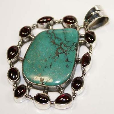 Tqa 107a pendentif pendant turquoise grenat achat vente bijou argent 925