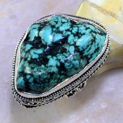 Tqa 114a bague t60 turquoise bleue ethnique tibet nepal achat vente bijou argent 925