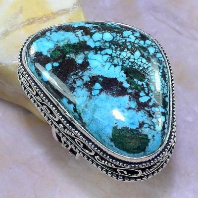 Tqa 115b bague t60 turquoise bleue ethnique tibet nepal achat vente bijou argent 925