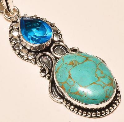 Tqa 119c pendentif turquoise pendant achat vente bijoux argent 925 1