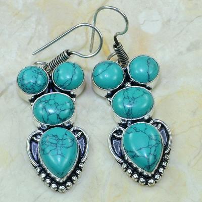Tqa 121a boucles pendants oreilles turquoise argent 925 achat vente bijou