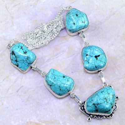 Tqa 122a collier sautoir turquoise bleue achat vente bijou pierre naturelle argent 925
