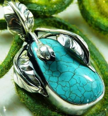 Tqa 124a pendentif pendant en turquoise bleue argent 925 achat vente bijoux ethniques