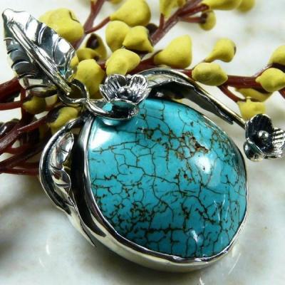 Tqa 125a pendentif pendant en turquoise bleue argent 925 achat vente bijoux ethniques