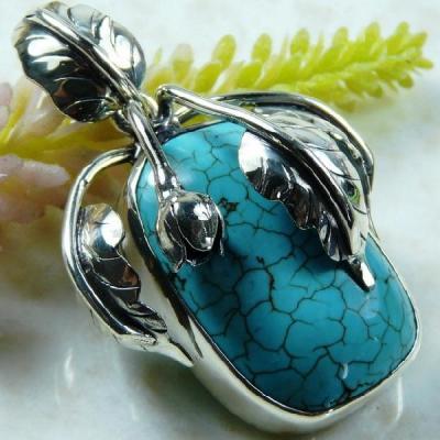 Tqa 126a pendentif pendant en turquoise bleue argent 925 achat vente bijoux ethniques