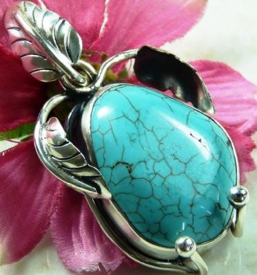 Tqa 127a pendentif pendant en turquoise bleue argent 925 achat vente bijoux ethniques