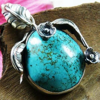 Tqa 128a pendentif pendant en turquoise bleue argent 925 achat vente bijoux ethniques 1